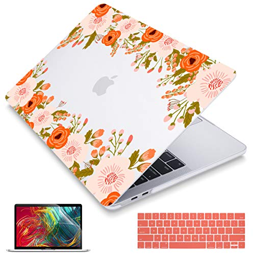 May Chen for MacBook Pro 13 inch Case (A2159 A1989 A1706 A1708, 2019 2018 2017 2016 Release), Plastic See Through Hard Cover for Newest Mac Pro 13.3 inch with/Without Touch Bar, Abstract Floral