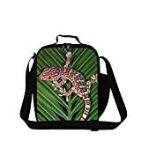 ZRENTAO Children Snacks Lunch Bag Cooler Box Junior School Students Lunch Tote with Strap Lizard Print