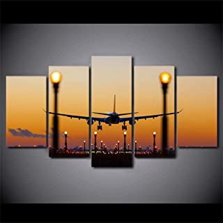 TYUIOP Canvas paintings 5 pieces of murals HD printing canvas paintings 5 pieces of airplane sunset glow pictures airp...