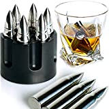 WHISKEY STONES EXTRA LARGE 6 PCS. STAINLESS STEEL SILVER BULLETS with Revolver Barrel Base Laser...