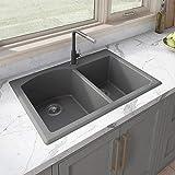 Ruvati 33 x 22 inch Dual-Mount Granite Composite Double Bowl Kitchen Sink - Urban Gray - RVG1344GR