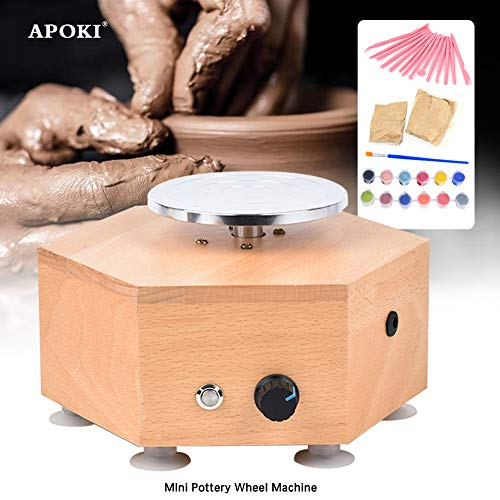 APOKI Torno Alfarero Electrico Mini,Alfareria Niños,Tornio Per Ceramica,12V,160rpm/Min,Per Ceramica 11.2 Cm/D Mini Per Tornio In Ceramica(Recargable)