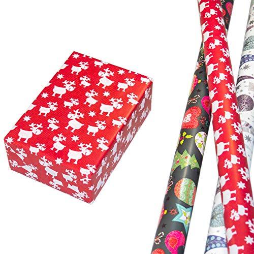 Geschenkpapier Weihnachten Set 3 Rollen, Winterwald-Design mit Eulen und Glitter + buntes Weihnachtsdesign mit weihnachtlichen Motiven und Glitter + weihnachtliches Elch Design auf rotem Fond