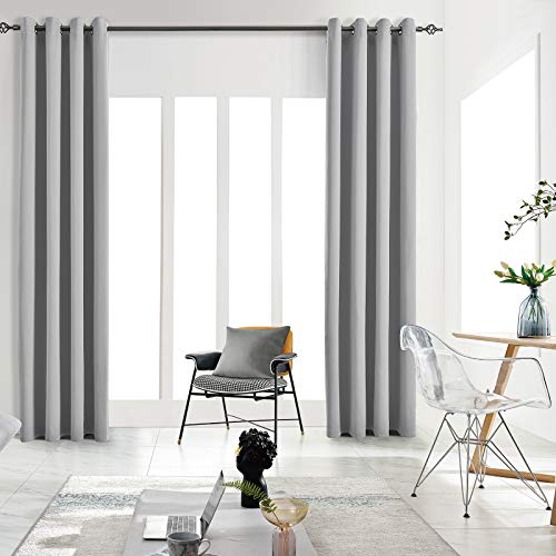 JSFLY Blackout Curtains for Bedroom Thermal Insulated Solid Grommet Window Drapes for Living Room , Set of 2 Curtain Panels 42 W x 63 L inch Length Light Gray