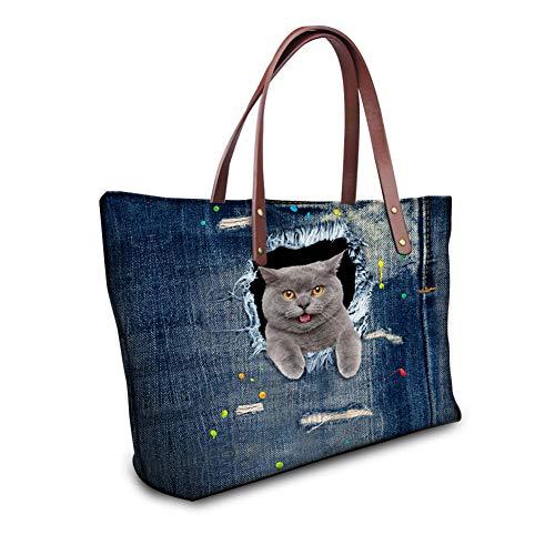 Wanforjewellery Waterdichte Hoge Capaciteit Tas Strand Handtas, Cowboy Cat Print Dame Handtas Schoudertas, cat2