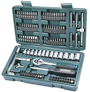 Foto di Mannesmann M29166 - Set chiavi a tubo, a cricchetto, In valigetta di plastica, 130 pezzi