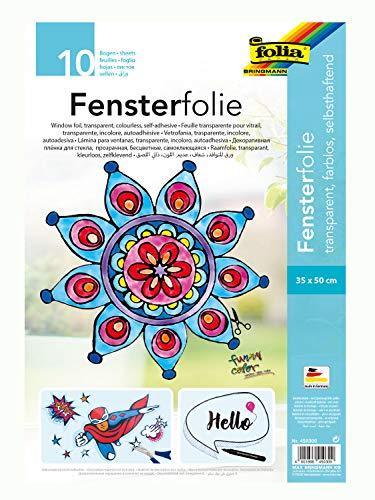folia 450300 - Fensterfolie farblos, selbsthaftend, ca. 35 x 50 cm, 10 Bogen - ideal als Vorlagebogen für Fensterbilder, Window Color