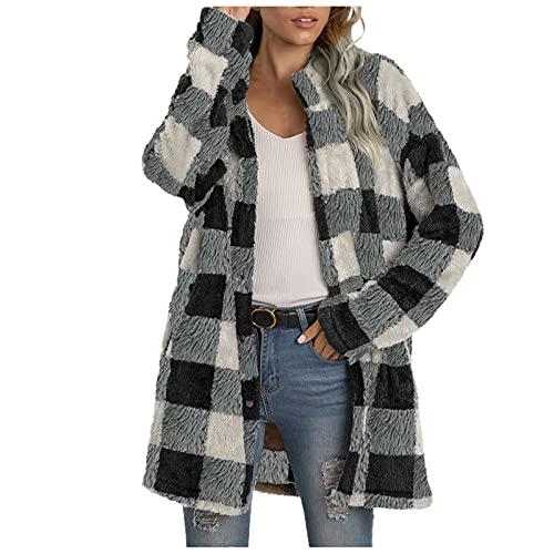 Plaid manica lunga cerniera Sherpa pile oversize felpa pullover giacca cappotto con tasche, grigio, L