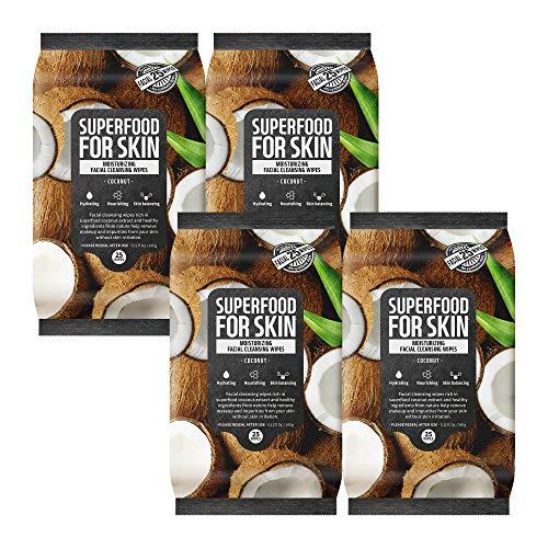 FARMSKIN Superfood For Skin, toallitas limpiadoras faciales, desmaquillador diario, coco humectante rápido y fácil, 25 unidades (paquete de 4)