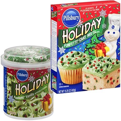 Pillsbury Holiday Funfetti Cake Mix and Icing Combo: Everything You Need to Make One Complete Christmas or Holiday Cake by Pillsbury