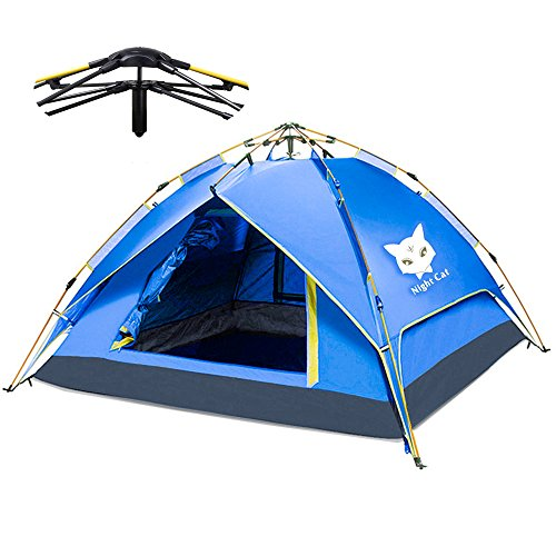 Night Cat Camping Tent 2 3 4 Persons Easy Instant Pop Up Tent Automatic Hydraulic Double Layer