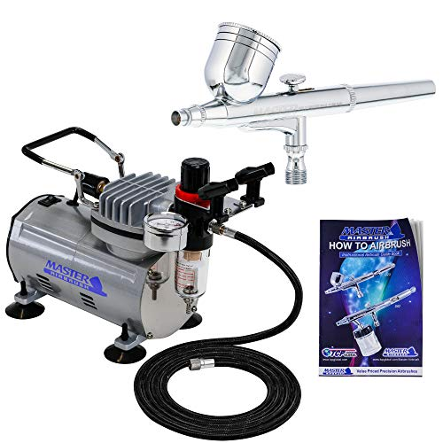 Price comparison product image Master Airbrush Multi-purpose Gravity Feed Dual-action Airbrush Kit with 6 Foot Hose and a Powerful 1 / 5hp Single Piston Quiet Air Compressor