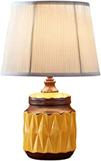 Lampe de Table en céramique Rouge Jaune créative ménage Simple Chambre à Coucher Lampe de Chevet Lampe Lampe Lampe en Tiss...