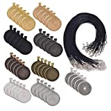 LANBEIDE 90 Pieces- 45 PCS Round Bezel Pendant Trays Sets, with 45 PCS Black Waxed Necklace Cord for Photo Pendant Crafting Jewelry
