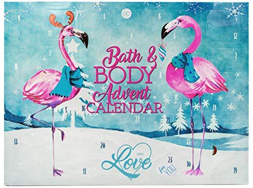 XXL Adventskalender FLAMINGO LOVE für Frauen - Bad & Körperpflege Weihnachtskalender Damen