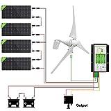 ECO-WORTHY 1200 Watts Solar Wind Turbine Generator Power Kit: 1pc 400 Watt Wind Turbine + 4pcs 195W Mono Solar Panels + 1pc Solar Wind Hybrid Controller