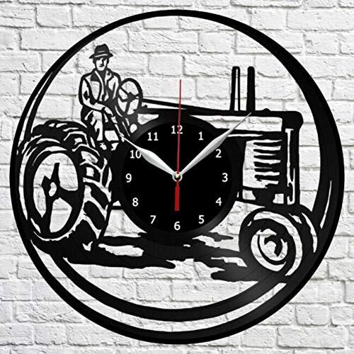 """Vintage Noir Disque Vinyle Horloge Murale, Tracteur, Wall Art Modern Design Bureau 3D Bar Salle Home Decor Cadeau 12"""" (30 Cm)"""