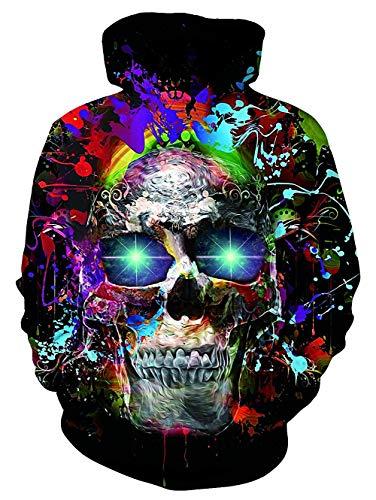 uideazone Uniesx 3D-Druck Hoodies Fleece-Pullover Lustige Kapuzenpullover Sweatshirt für Herren Damen mit Großen Taschen …, Schädel, XXL