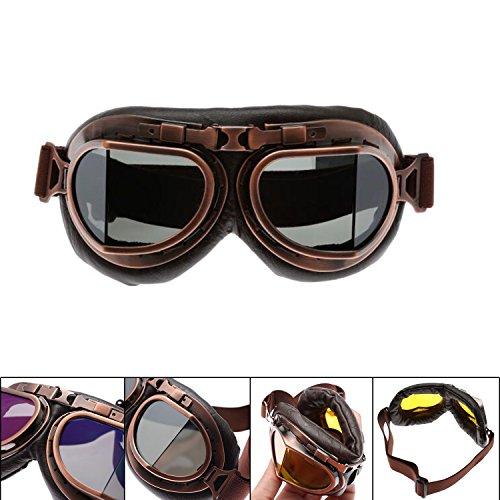 MENGCORE Motorcycle Goggles Glasses Vintage Motocross Classic Goggles Retro Aviator Pilot Cruiser Steampunk ATV Bike UV Protection Copper (Smoky Gray)