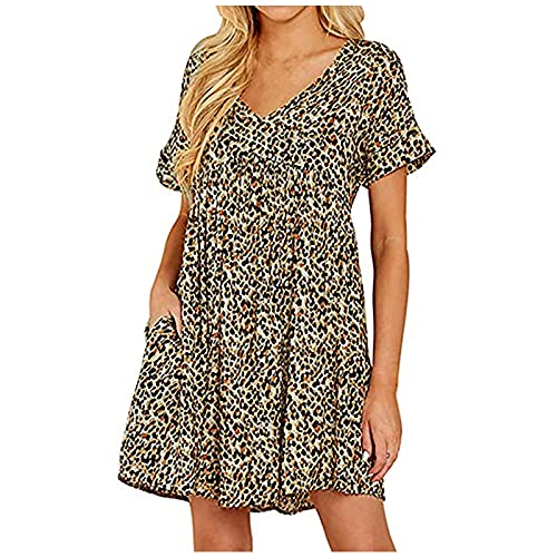 Liably Vestido de mujer bohemio para verano, informal, cuello en V, manga corta, plisado, estilo retro, color lila, verde, negro, blanco, amarillo, azul amarillo XL