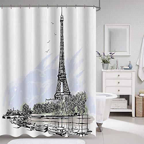 "VVA Paris Eiffel Tower Fabric Shower Curtain, French Architecture Theme, Illustration of Parisian Landmark, Birds and Trees Pattern, Cloth Decor Set Hooks for Bathroom, 72"" Long, Black, White, Blue"