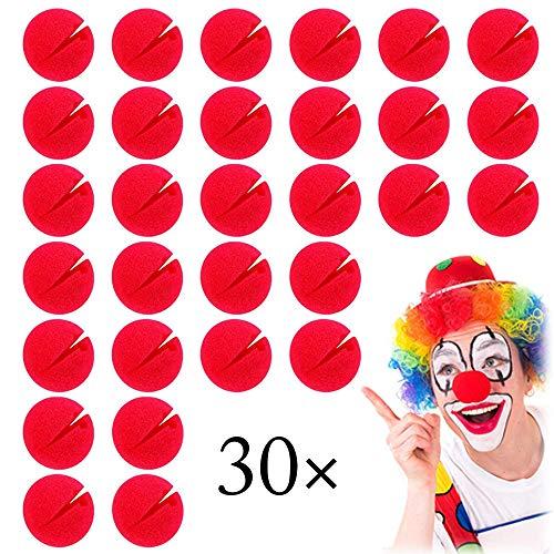 Xinlie 30 Piezas Rojo Espuma Payaso Nariz Nariz de Espuma roja Circo Payaso Nariz Payaso de Nariz Nariz roja Fiesta del día Nariz de Payaso Rojo Nariz de Payaso en Rojo | Diámetro de Unos 5 cm |