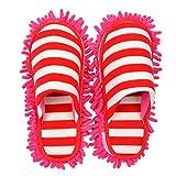 Selric Mikrofaser-Hausschuhe mit Streifen, abnehmbar und waschbar, rutschhemmende Hausschuhe, rot, 10 1/4' [Size:9.5-10]