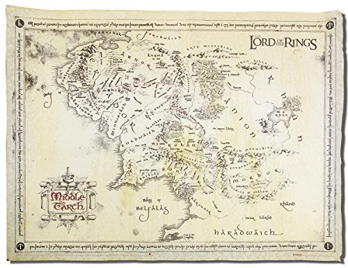 Herr der Ringe - Karte von Mittelerde Poster / Plakat - Pergament Karte echtes Pergamentpapier