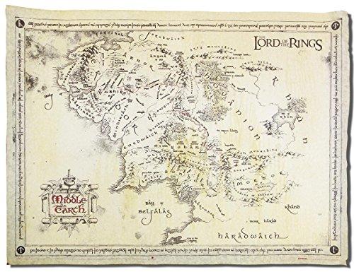 Close Up Herr der Ringe - Karte von Mittelerde Poster/Plakat - Pergament Karte echtes Pergamentpapier