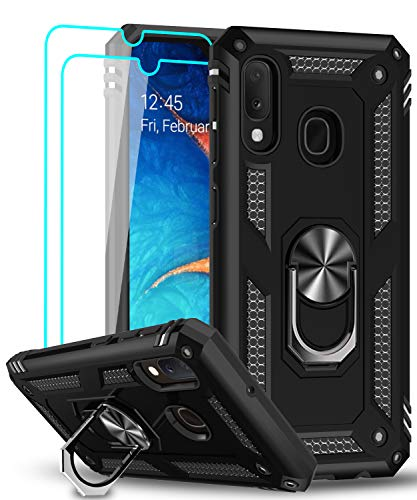 LeYi für Samsung Galaxy A20e Hülle Handyhülle mit Panzerglas Schutzfolie(2 Stück),360 Grad Drehbar Magnetische Ringhalter Cover TPU Bumper Schutzhülle für Case Samsung Galaxy A20e Handy Hüllen Schwarz