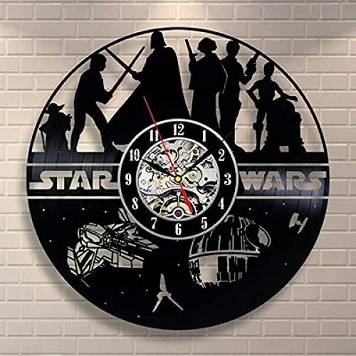 SGTHYJ Reloj de Pared de Vinilo Star Wars-Disco de Vinilo Retro Reloj de Pared 3D Habitación de Niño decoración para el Hogar-9_con Luz Led 12 Pulgadas