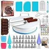 Kit d'accessoires complet pour la décoration de gâteaux: Lot comprenant tout ce dont vous avez besoin pour commencer à décorer des gâteaux comme un professionnel. Plateau tournant de 27,9 cm. 24 douilles de glaçage numérotées et faciles à utiliser. ...