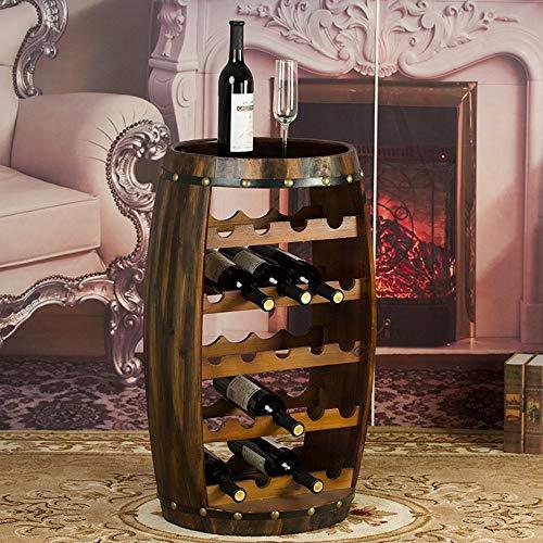 CS High-End-Wein Rackeuropean Kreative Holzzylinder, 23 Flaschenhalter Oak Effect Freistehendes Haus Wohnzimmer Regal Schmuck
