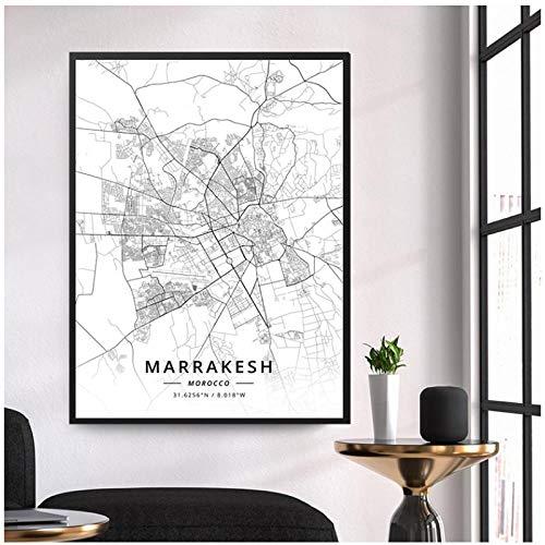 TeriliziMarrakech, Marruecos, Mapa En Blanco Y Negro De Línea De Latitud Y Longitud, Pintura Decorativa, Sala De Estar, Lienzo, Pintura, 50X70 Cm Sin Marco