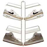 mDesign Modern Metal Shoe Display & Storage Rack - Perfect for Sneaker Heads - Store Your Collection of Kicks - 4 Tier, Wall Mount - Satin