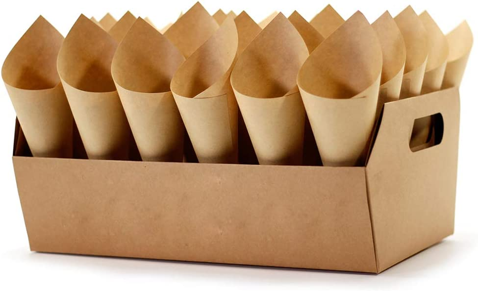 Wedding Confetti Cone Stand Box - 30pieces of Cone Papers and 30Holes for 30 Confetti Cones box (blank kraft, 1)
