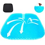 serene freestyle Gel Seat Cushion, 2020 The Latest Large Size Honeycomb Design Cushion Double Thick Seat Cushion with Non-Slip Cover Super Breathable Gel Cushion for Back Painr Home Office Chair Car