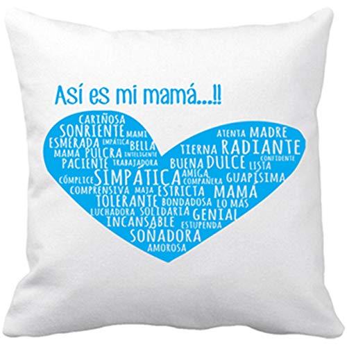 Diver Bebé Cojín con Relleno Regalo para Mami así es mi mamá corazón Azul - Blanco, 35 x 35 cm