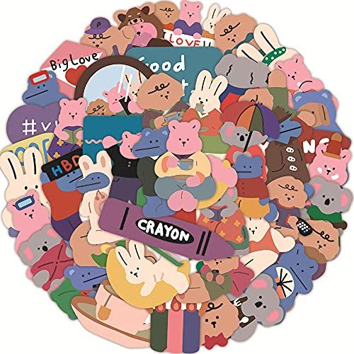 JZLMF 50 Cartone Animato Coreano Amore Orso Graffiti Adesivi cancelleria Tazza d'Acqua Decorazione Impermeabile Conto a Mano Ragazza