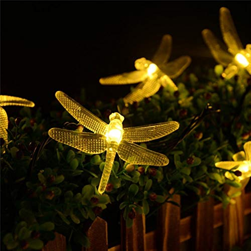 ledmomo luci solari della sequenza luci fate della libellula lampada a sospensione LED impermeabile decorazioni per alberi di Natale della recinto giardino Patio al aire libre (Bianco Caldo)