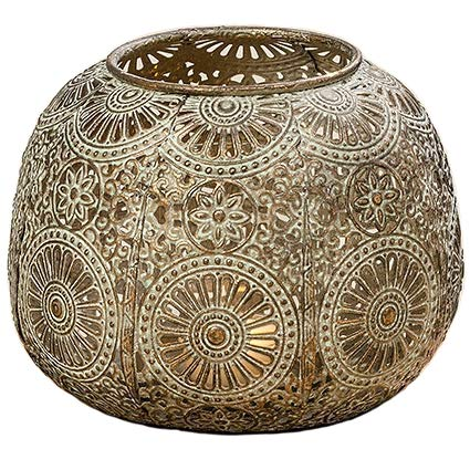 Home Collection Farolillo Portavelas de Metal en Verde Dorado con Ornamentos A 12 cm
