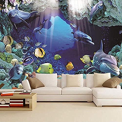 Große benutzerdefinierte Raum Hintergrund Tapete Marine Park Unterwasserwelt Dolphin Coral heiße dekorative Wand Wa Wanddekoration fototapete 3d Tapete effekt Vlies wandbild Schlafzimmer-430cm×300cm