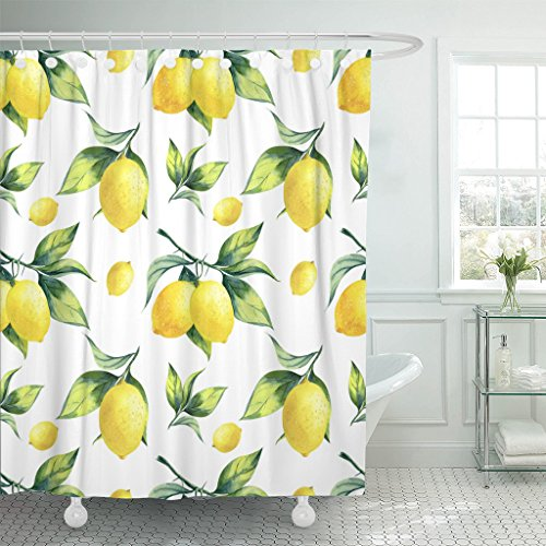 TOMPOP Duschvorhang Wasserfarben Obst Zitrone Muster auf Weiß bunter Baum botanischer wasserdichter Polyester-Stoff 183 x 183 cm Set mit Haken