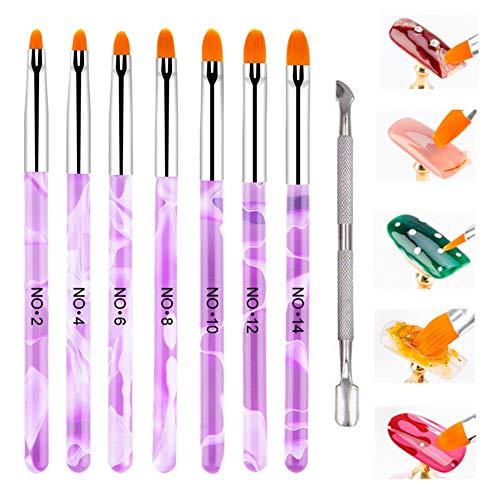 Hanyousheng pinceaux ongles Set 7pcs Déco d'ongles acrylique Brosses Pinceau gel UV Professionnel pour Vernis à Ongles Dessin Salon Manucure DIY Maquillage avec 1 Poussoir à Cuticules