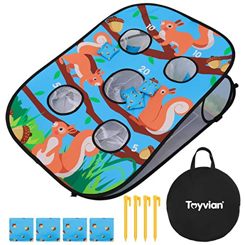 Toyvian Sitzsackwurf, Tragbares 5-Loch-Cornhole-Spielset für Kinder, Erwachsene, Familie, 8 Sitzsäcke Und 4 Pfähle, Indoor-Outdoor-Hofwurfspiel (3 X 2 Fuß)