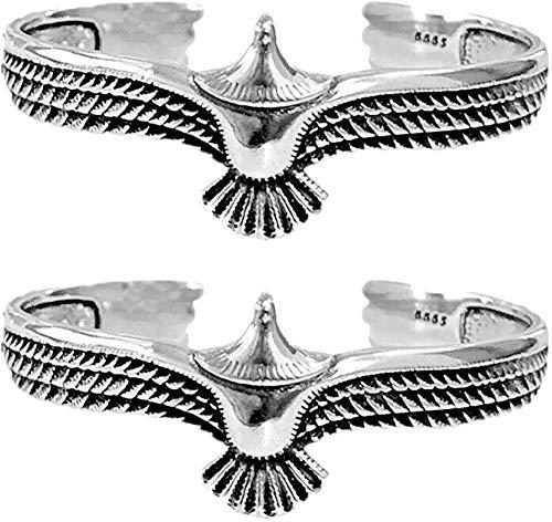 Pulsera de plata de ley 925 ajustable, para hombre, diseño de águila, con extremo abierto, de acero inoxidable, 2 unidades, color plateado