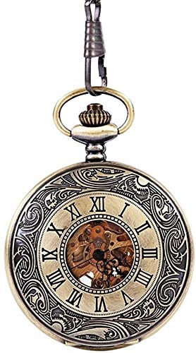 Pocket watch Jewelry Bronze Classical Roman Scale Lace Inside And Outside Double Display Engraved Lace Men Women Short Chain Means the watch in the pocket (Color, Size : FREE SIZE)