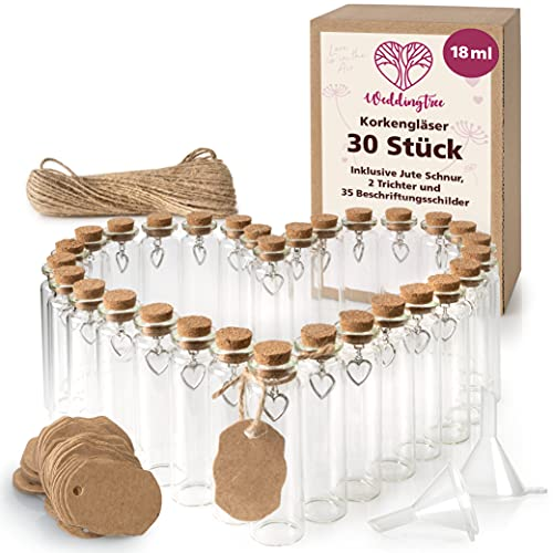 WeddingTree Reagenzglas mit Korken 30 x 18ml - Kleine Glasflaschen mit Korken und Herz Anhänger - Als Gastgeschenk Hochzeitsdeko Gewürzgläser