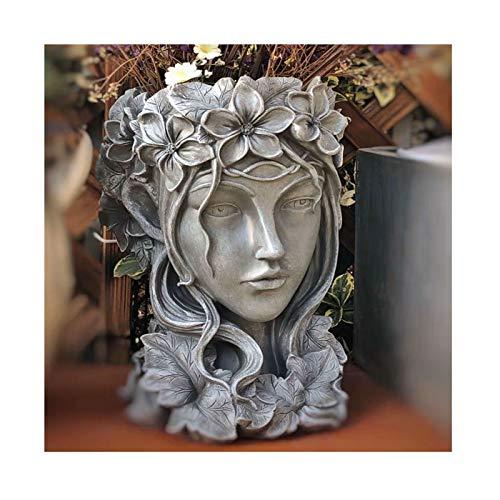 Premium Resin Goddess Head Planter - 14' Tall Large Flower Pot Beauty Face Figurine Ornament Container - Decorative Plants Artificial Flower Vase Home Garden Patio Yard Decoration,23*23*35cm