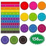 SpriteGru 156 pcs Magnetic Rainbow Fraction Tiles Circles